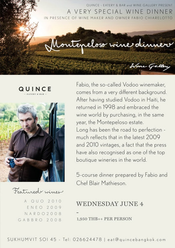 Montepeloso wine dinner at Quince on Wednesday 24 June